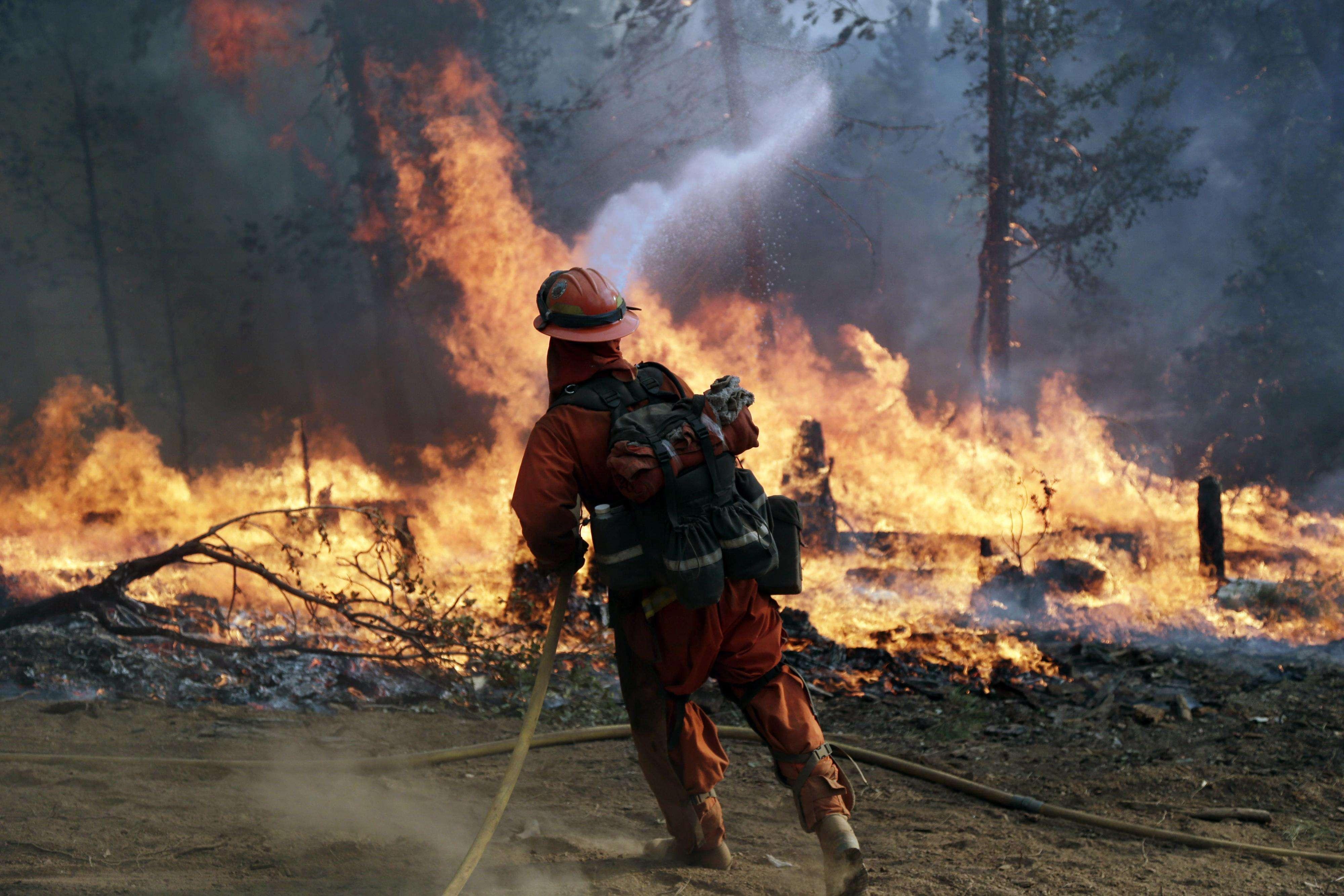 Un bombero rocía agua un incendio controlado para formar una barrera antifuego el lunes 22 de septiembre de 2014, cerca de Placerville, California. Foto: AP en español