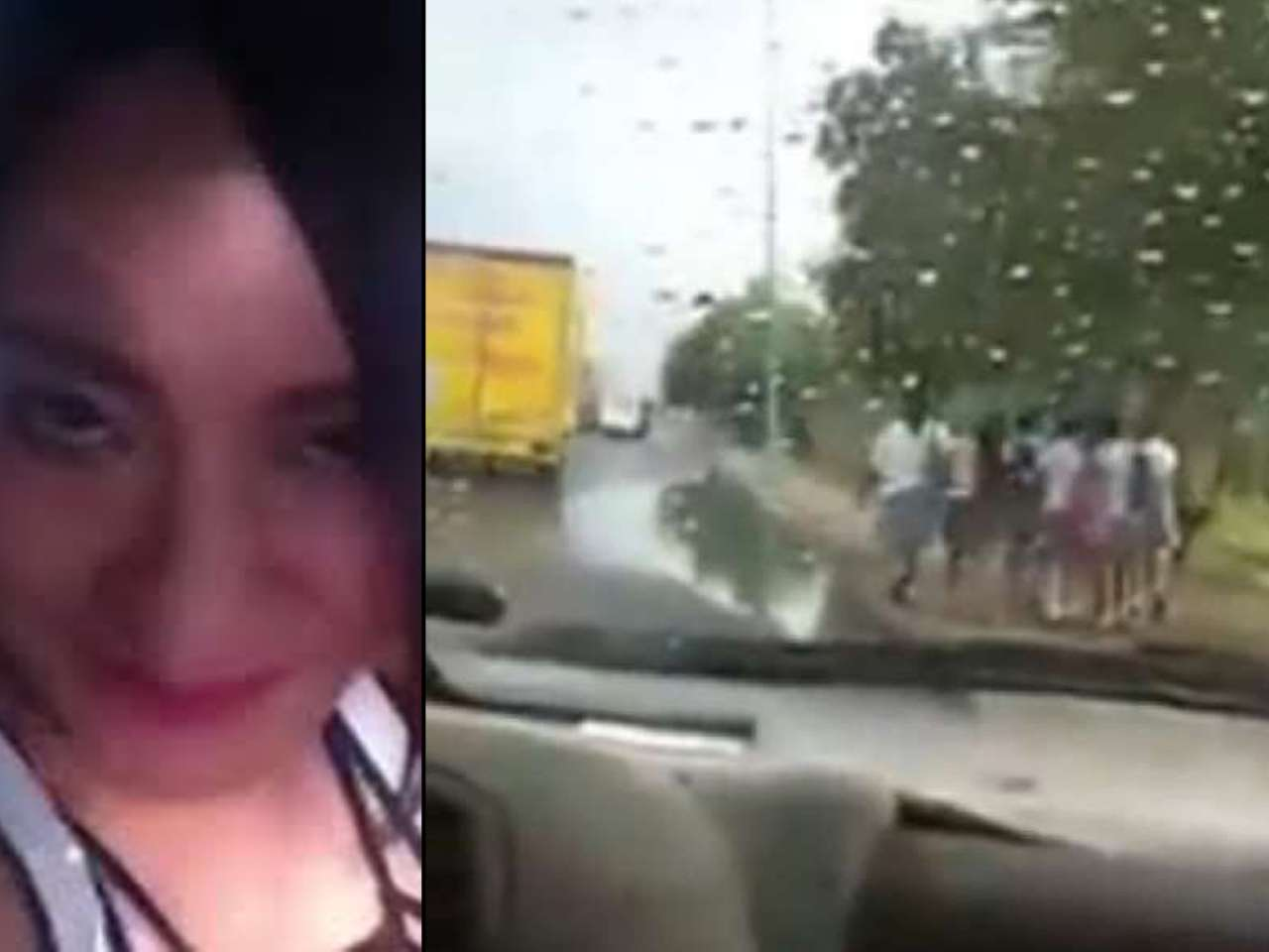En el video se aprecia cuando #LadyCharcos calcula el momento para acelerar y pasar sobre el agua cuando cinco estudiantes caminan enfrente Foto: Imagen tomada de Youtube