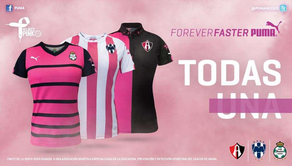Parte del Project Pink que la marca Puma tiene para los equipos Rayados, Santos y Atlas. Foto: Twitter @PUMAmexico