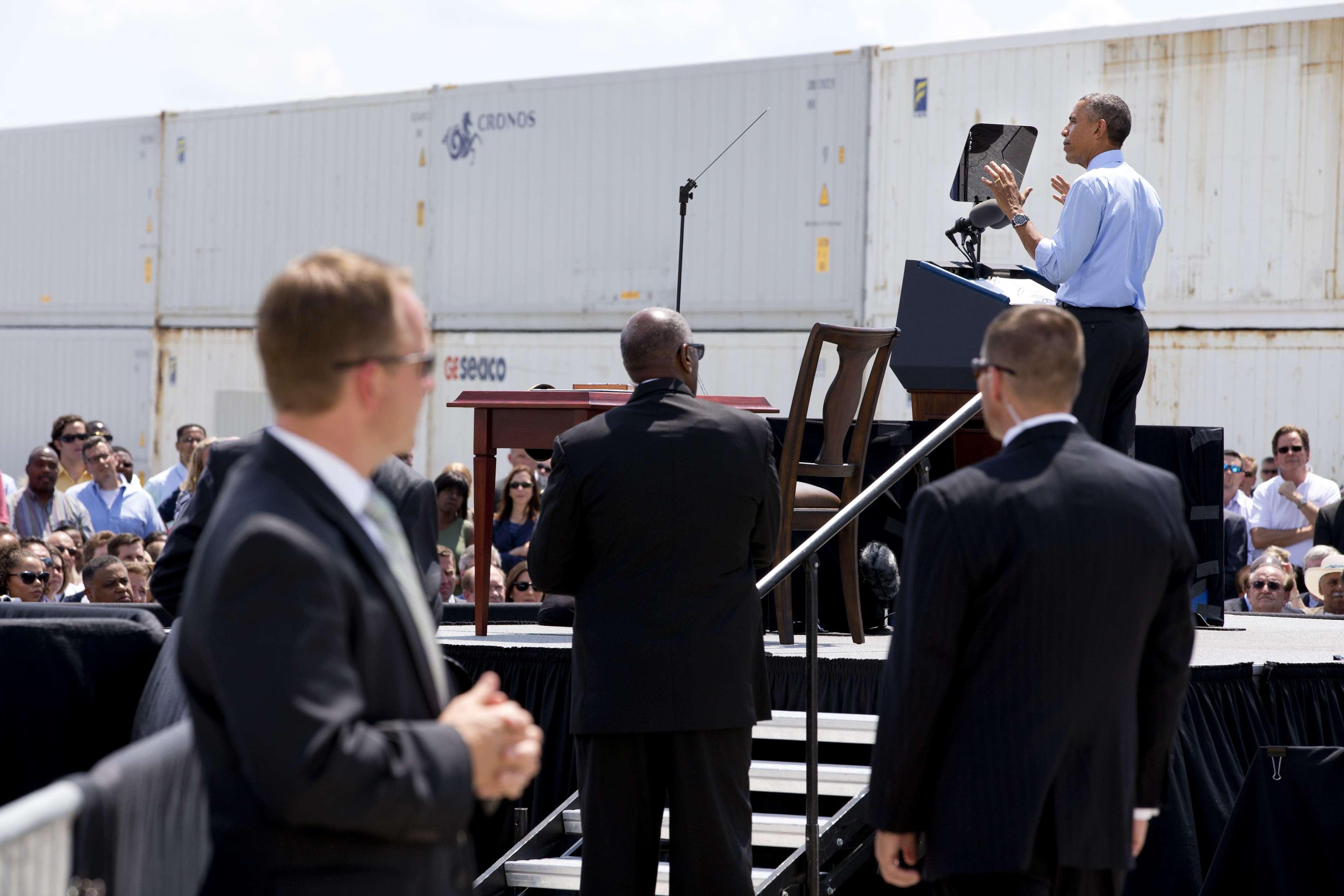 Agentes del Servicio Secreto aguardan en un evento encabezado por el presidente Obama. Foto: AP en español