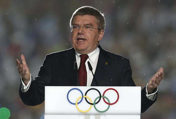 International Olympic Committee (IOC) President Thomas Bach delivers a speech during the closing ceremony of the 2014 Nanjing Youth Olympic Games in Nanjing, Jiangsu province August 28, 2014. Foto: Aly Song/Reuters