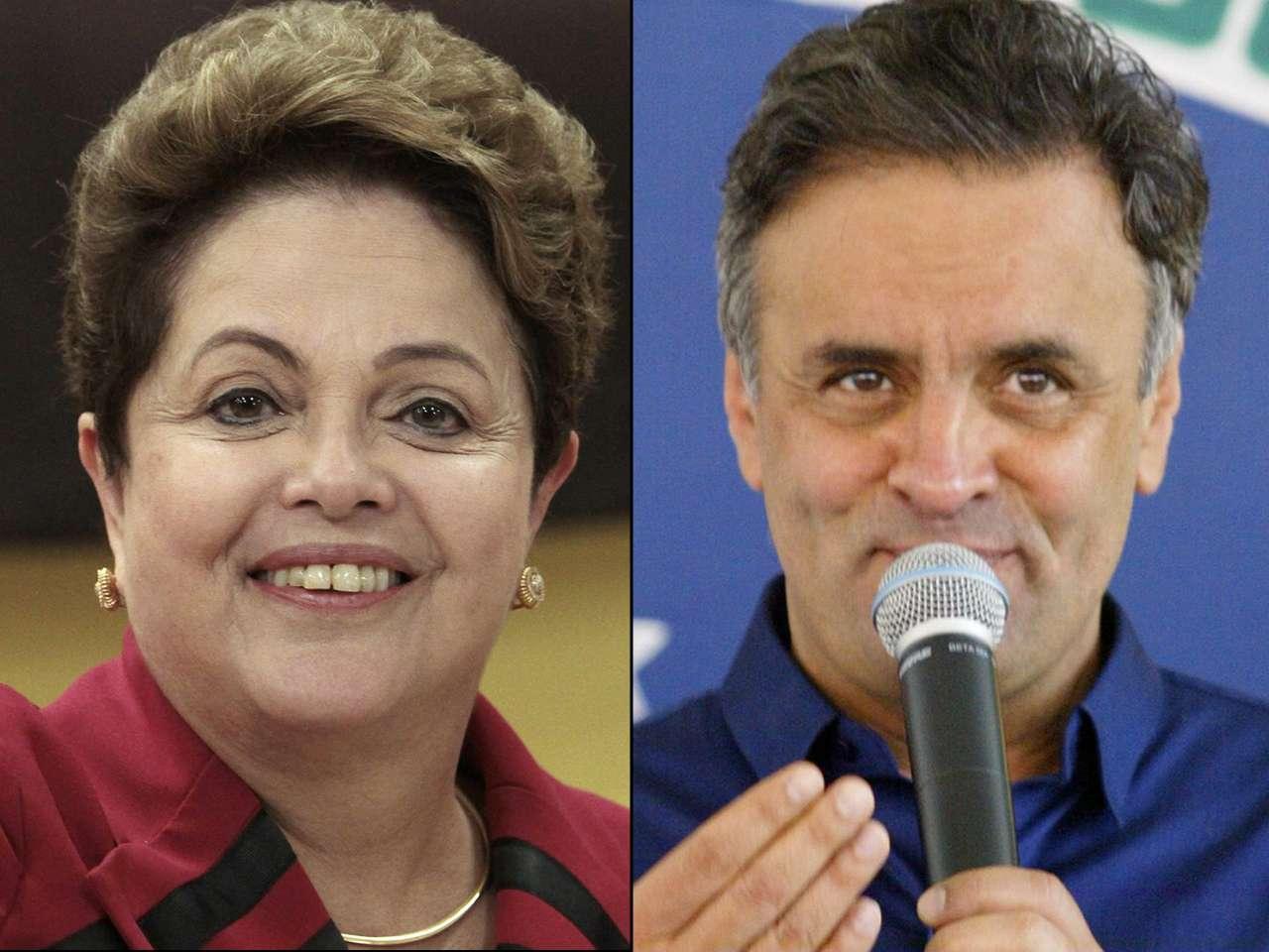 La presidenta de Brasil Dilma Rousseff (izq.) y el candidato socialdemócrata Aecio Neves Foto: EFE/Especial