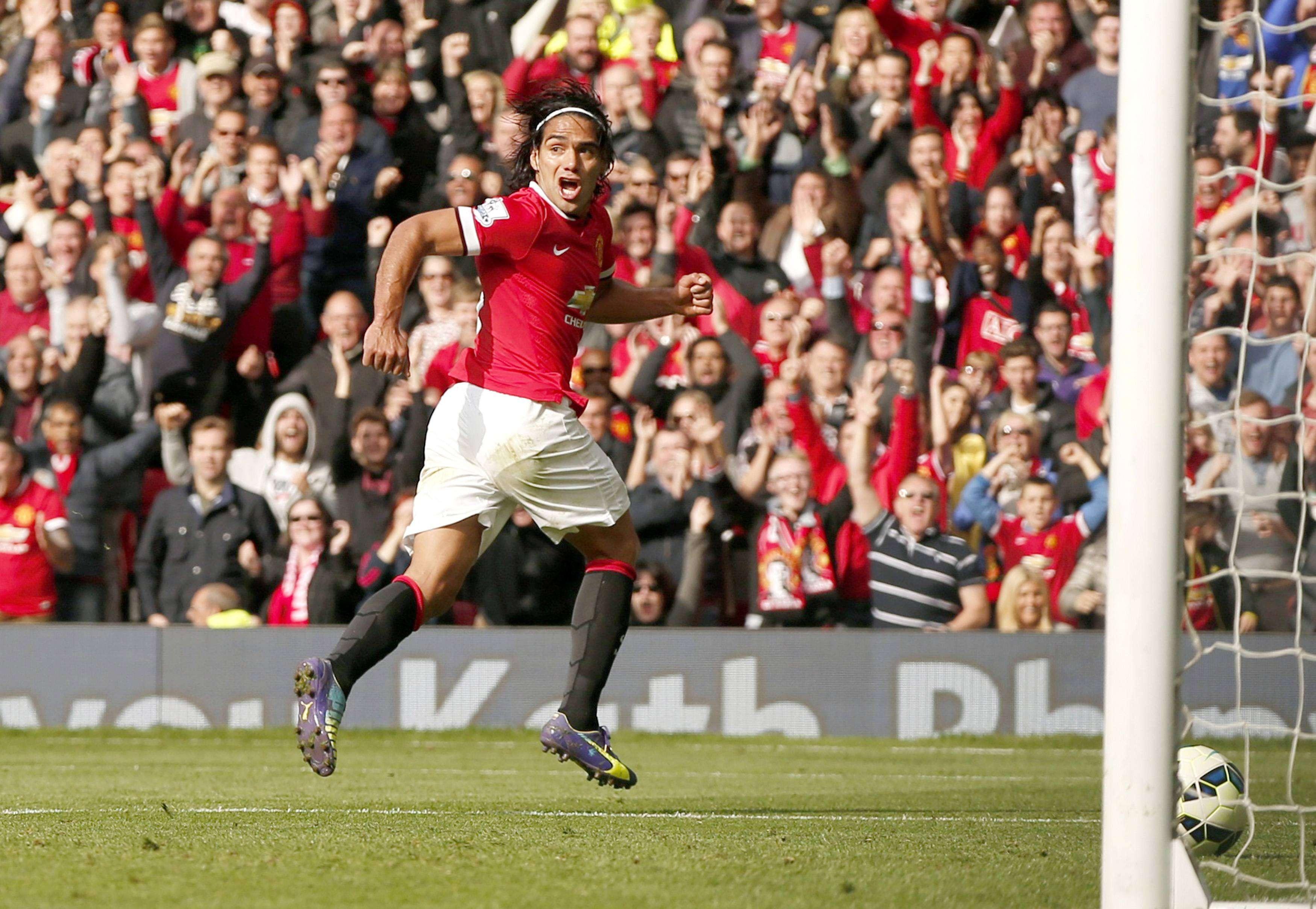 Falcao García festeja seu primeiro gol pelo Manchester United Foto: Phil Noble/Reuters