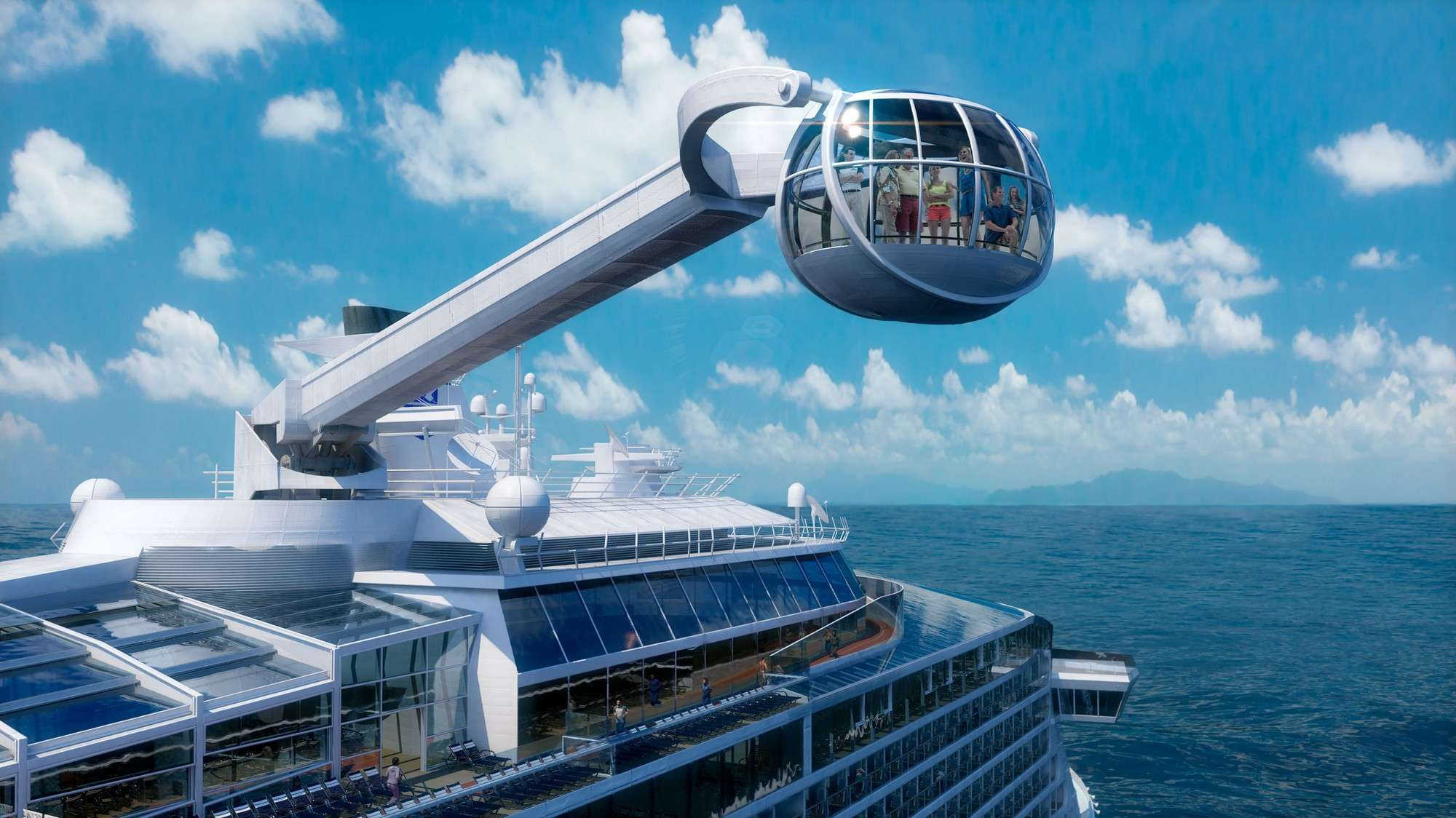 North Star - Outra atração de tirar o fôlego é o North Star. Nele os hóspedes serão erguidos em uma cápsula de vidro em formato de joia em um passeio a mais de 270 metros acima do mar, tanto por cima do deck, quanto pelas laterais do navio, com uma vista de 360º Foto: Royal Caribbean International/Divulgação