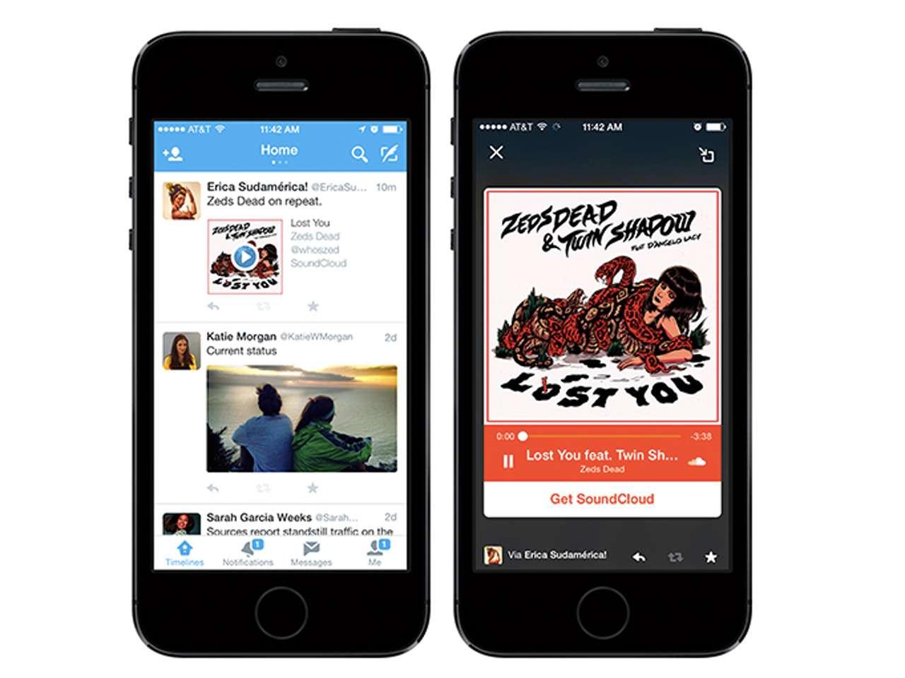 La nueva Twitter Card permite a los usuarios escuchar canciones o clips de audio del servicio de streaming SoundCloud Foto: Twitter