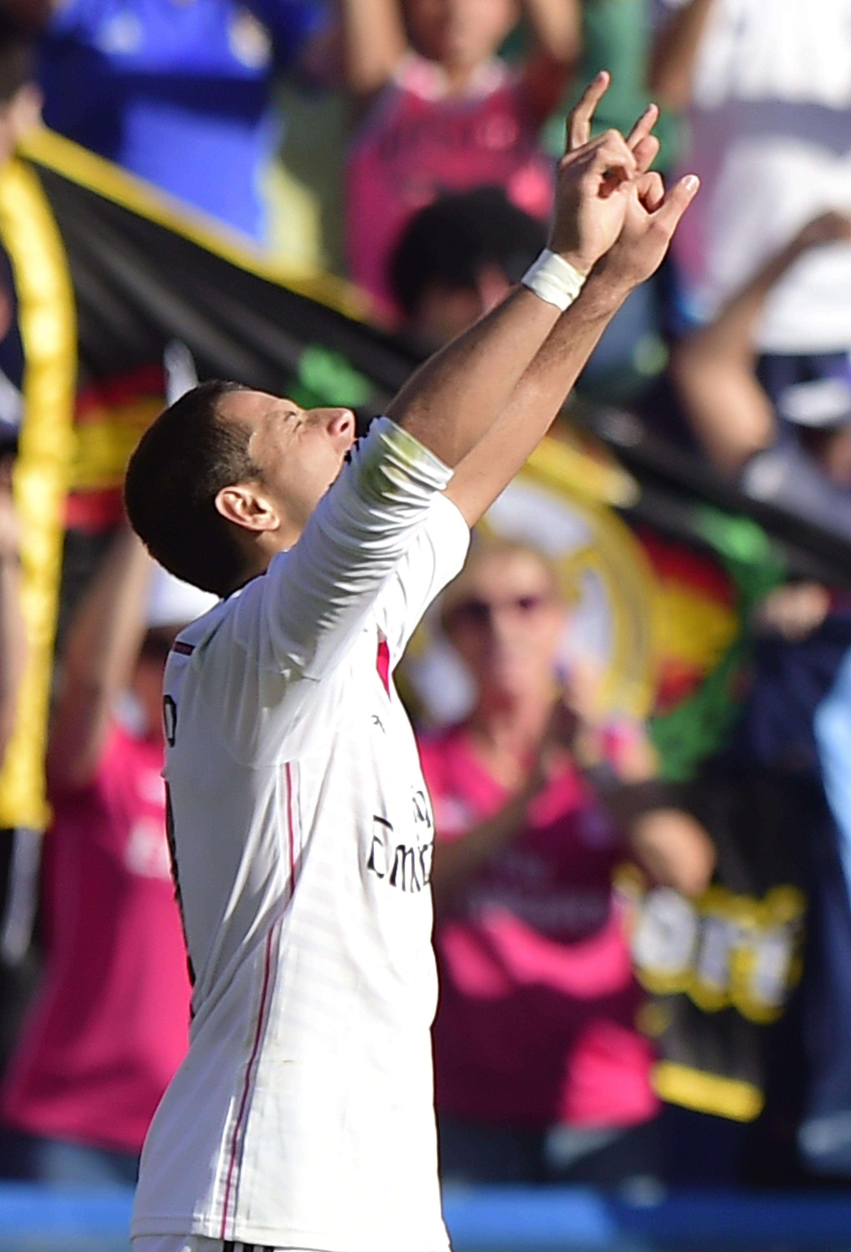 Javier Hernández logró su tercer gol con el Real Madrid en la Liga de España. Foto: EFE
