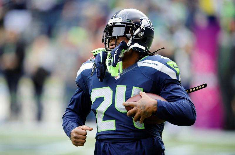 Oct 12, 2014; Seattle, WA, USA; Seattle Seahawks running back Marshawn Lynch (24) during pre game warm ups prior to the game against the Dallas Cowboys at CenturyLink Field. Mandatory Credit: Steven Bisig-USA TODAY Sports. Foto: Reuters