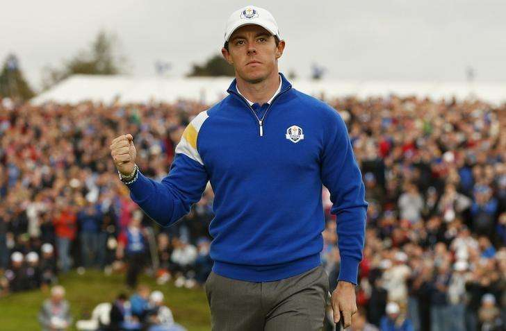 European Ryder Cup player Rory McIlroy celebrates going one up on the first hole during the 40th Ryder Cup singles matches at Gleneagles in Scotland September 28, 2014. Foto: Phil Noble/Reuters