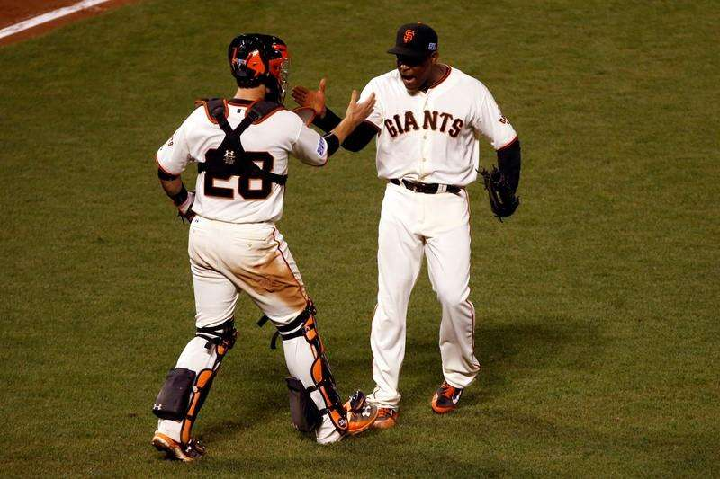 Oct 16, 2014; San Francisco, CA, USA; San Francisco Giants left fielder Michael Morse (38) celebrates after defeating the St. Louis Cardinals in game five of the 2014 NLCS playoff at AT&T Park. Giants won 6-3. Mandatory Credit: Ed Szczepanski. Foto: Reuters