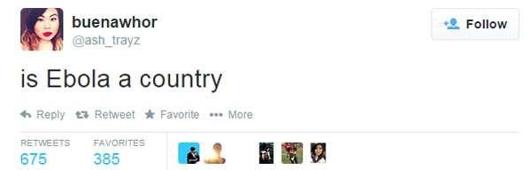 """Site seleciona os tweets mais """"idiotas"""" sobre o ebola Foto: Twitter/Reprodução"""