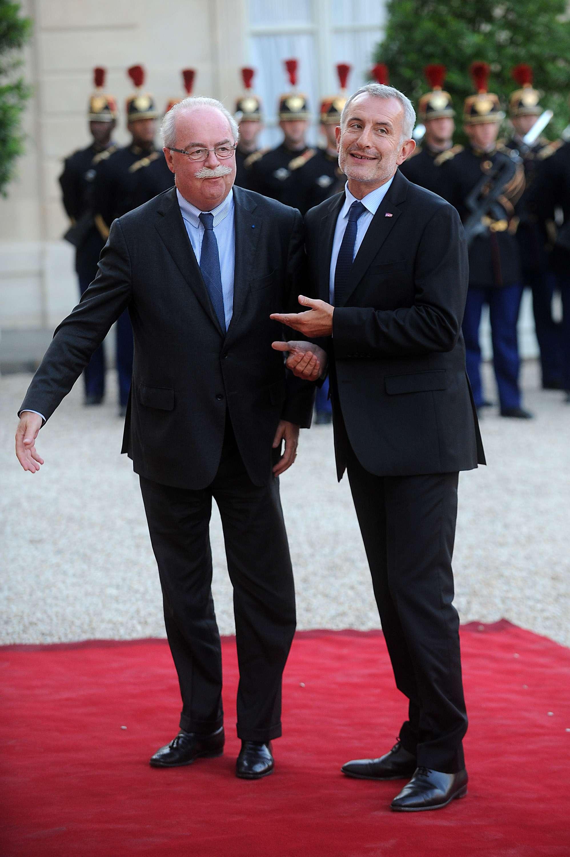 En foto de archivo, a la izquierda, el fallecido presidente de la empresa petrolera Total Christophe de Margerie junto con el empresarios de SNCF, Guillaume Pepy. Foto: Getty Images