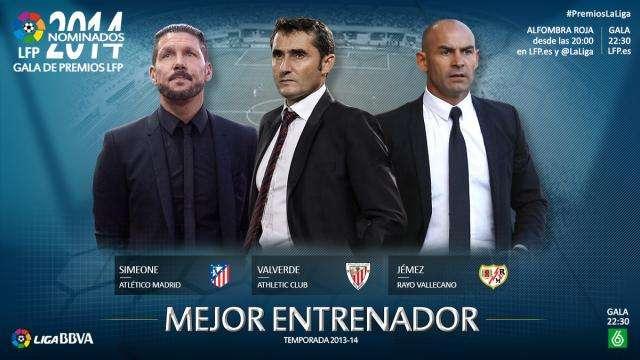 Simeone, Valverde y Paco Jémez. Foto: LFP