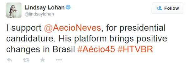 Atriz norte-americana Lindsay Lohan declara apoio a Aécio Foto: Twitter/Reprodução