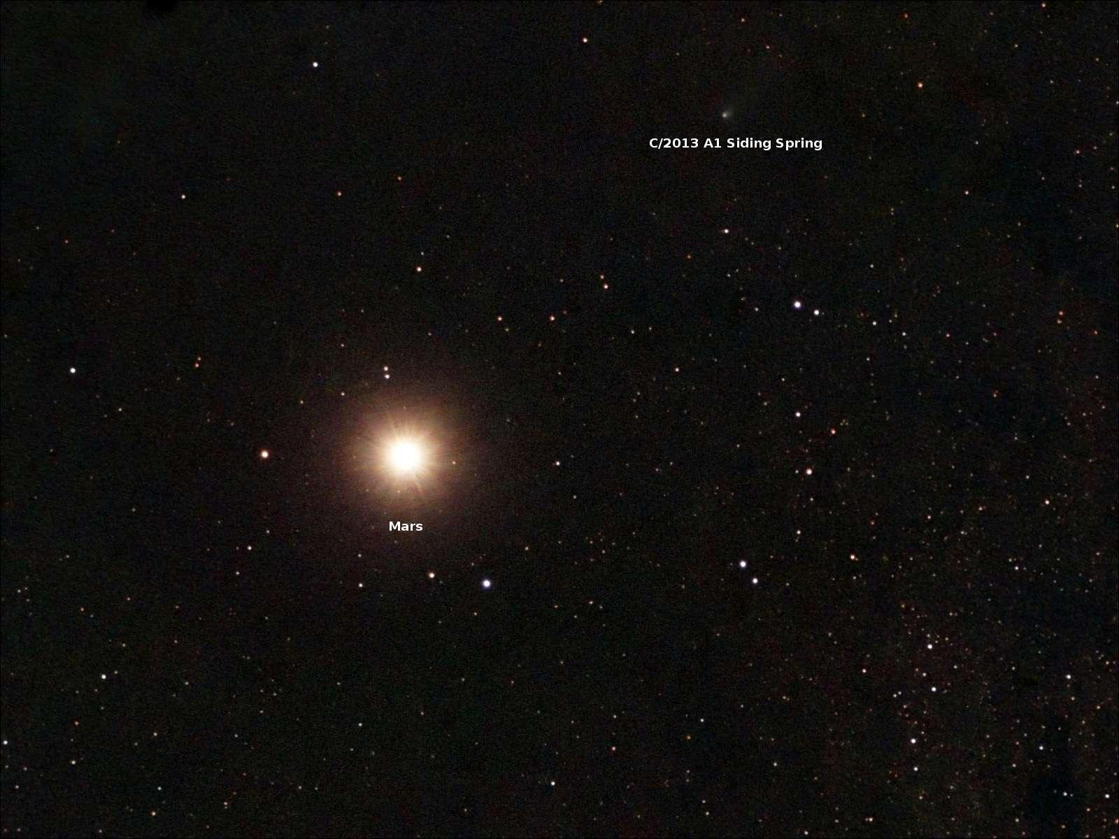 La Agencia Espacial Europea publicó una foto cometa C/2013 A1, mejor conocido como Siding Spring, que el tercer domingo de octubre de 2014 se aproximó a Marte a una distancia de apenas 139,500 kilómetros. Foto: Scott Ferguson/ESA