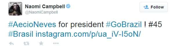 Naomi Campbell entra para o time de apoiadores de Aécio Foto: Twitter/Reprodução