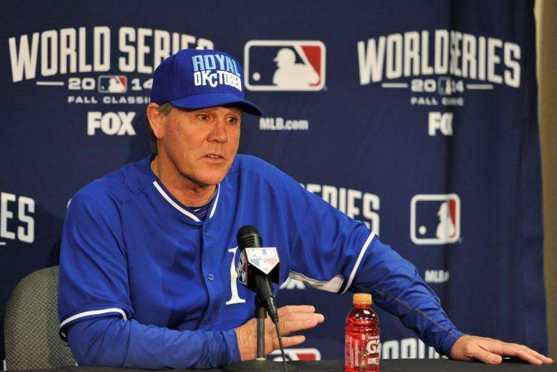 Kansas City Royals manager Ned Yost (3) talks with members of the media during a press conference the day before the start of the 2014 World Series at Kauffman Stadium. Christopher Hanewinckel-USA TODAY Sports. Foto: Reuters