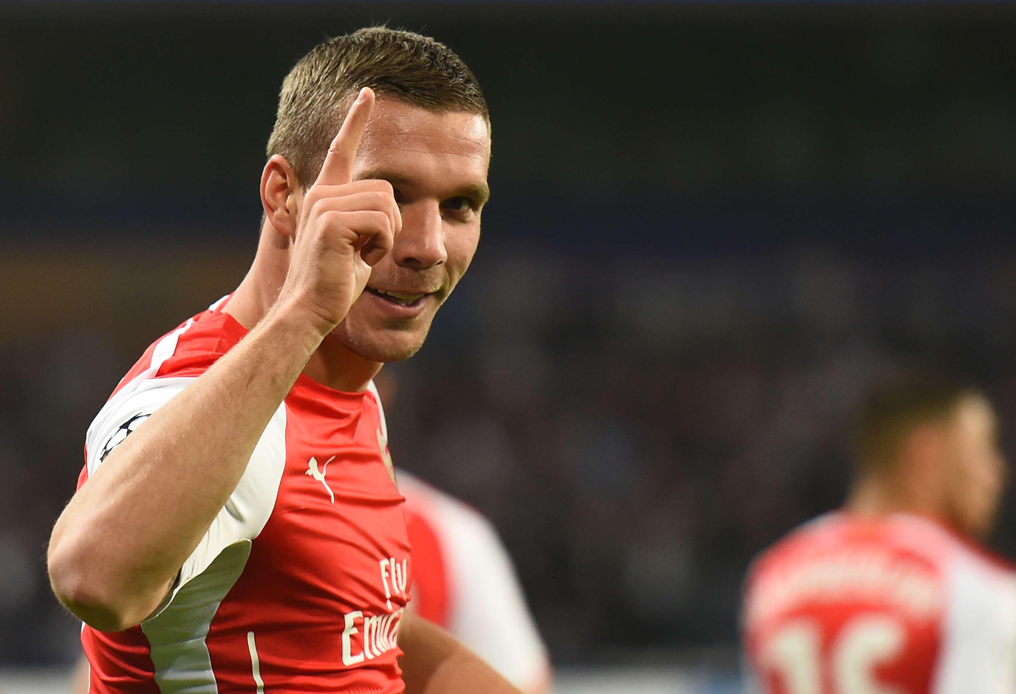 Podolski le dio el triunfo a su equipo en tiempo de compensación. Foto: AFP
