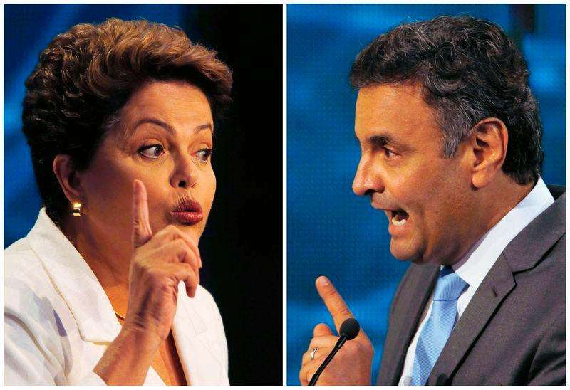 Imagen compuesta de la presidenta brasileña, Dilma Rousseff, y el candidato Aécio Neves en un debate en Sao Paulo. Los dos candidatos en la segunda vuelta de las elecciones presidenciales en Brasil crecieron a apenas siete cuadras de distancia, asistieron al mismo club de tenis, vieron películas en el mismo cine y recorrieron las mismas plazas en la década de 1960. Foto: Paulo Whitaker/Reuters