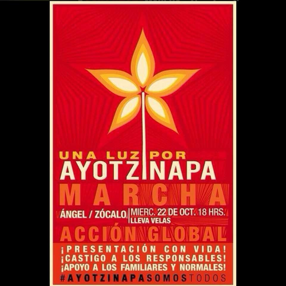 A casi un mes de la desaparición de 43 estudiantes de la Normal Rural de Ayotzinapa, este miércoles 22 de octubre, habrá una jornada de protestas en todo el país. Foto: Tomada de Twitter