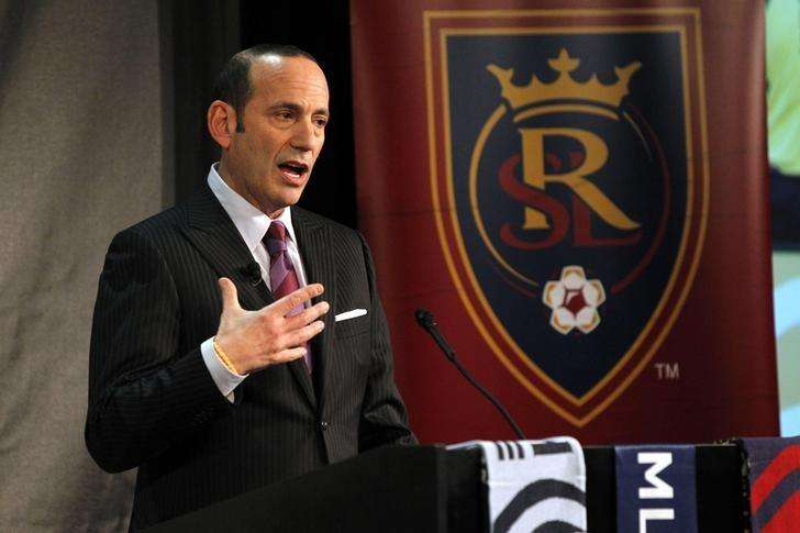 Dec 3, 2013; New York, NY, USA; MLS commissioner Don Garber speaks about the state of the league at Google Offices. Mandatory Credit: Noah K. Murray-USA TODAY Sports. Foto: Reuters