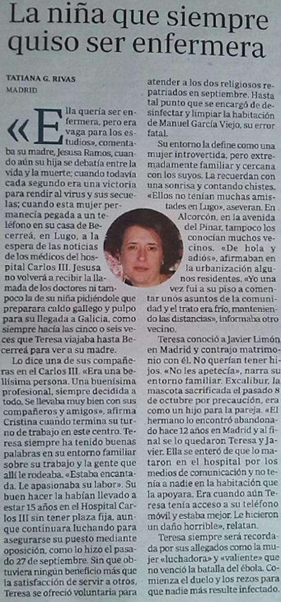 Obituario Teresa Romero Foto: ABC