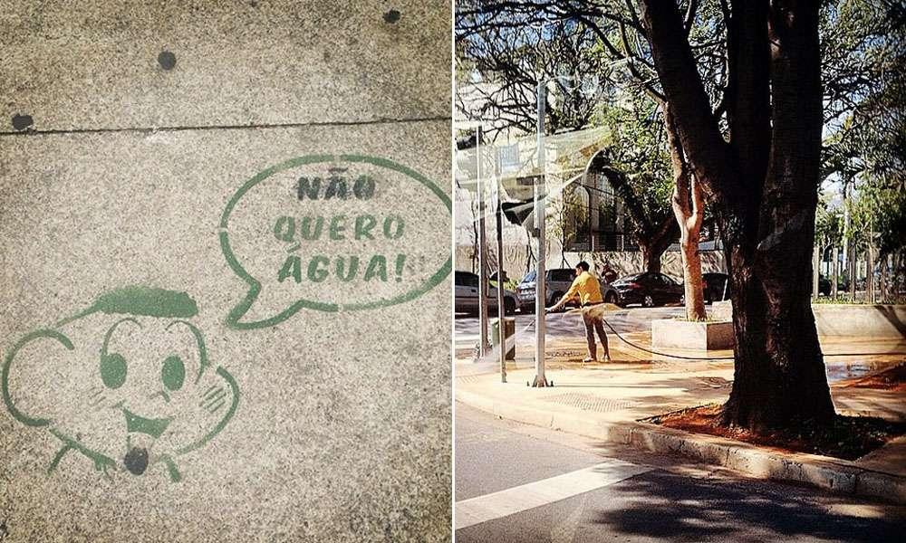 Campanha criativa no Instagram alerta para desperdício de água em São Paulo. Foto: Reprodução