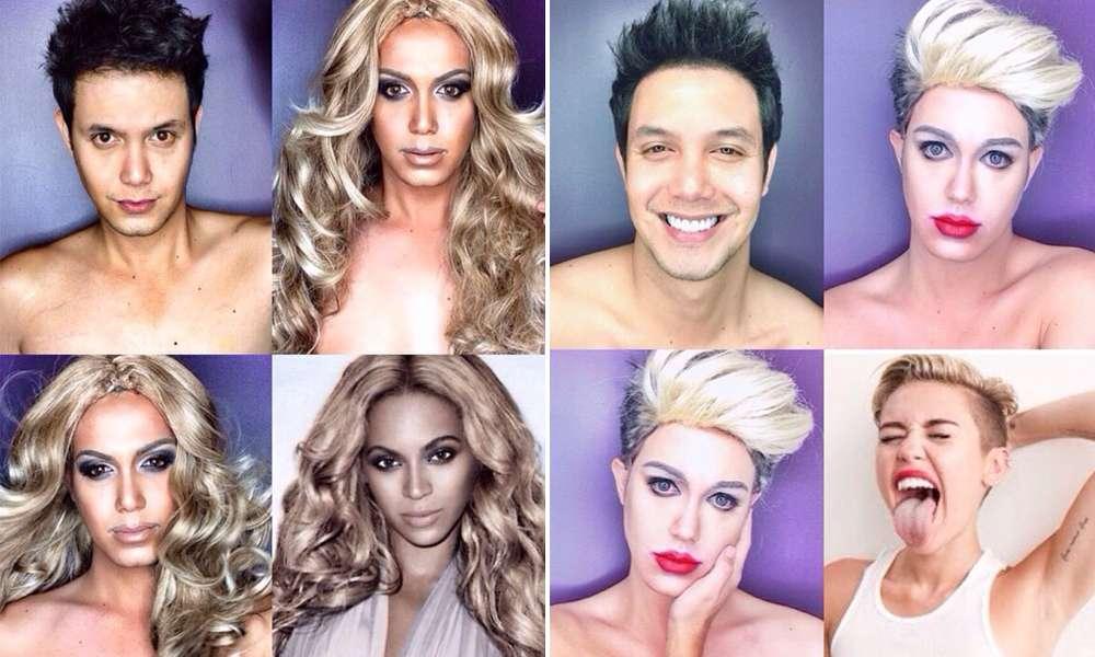 Homem usa maquiagem para se transformar em famosas. Foto: Reprodução