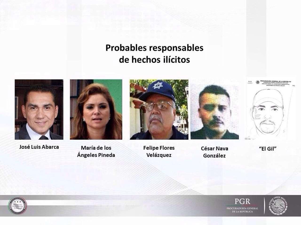 """La Procuraduría General de la República, dio a conocer que la principal línea de investigación sobre el caso de los 43 normalistas de Ayotzinapa en Guerrero, involucra a José Luis Abarca, exalcalde de Iguala; su esposa y expresidenta del DIF, María de los Ángeles Pineda; a Felipe Flores, subjefe de la policía local; Cesar Nava González y un sujeto apodado El 'Gil', integrantes de """"Guerreros Unidos"""". Foto: PGR"""