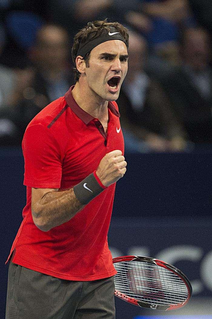 Federer vibra com vitória de virada Foto: Georgios Kefalas/AFP