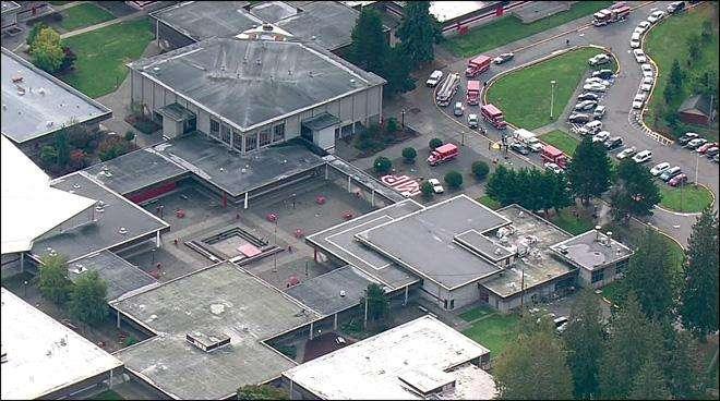 Imagen aérea de la zona donde se ubica la escuela en donde ocurrió la balacera. Foto: Twitter