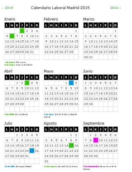Calendario laboral 2015 Foto: Seguridad Social
