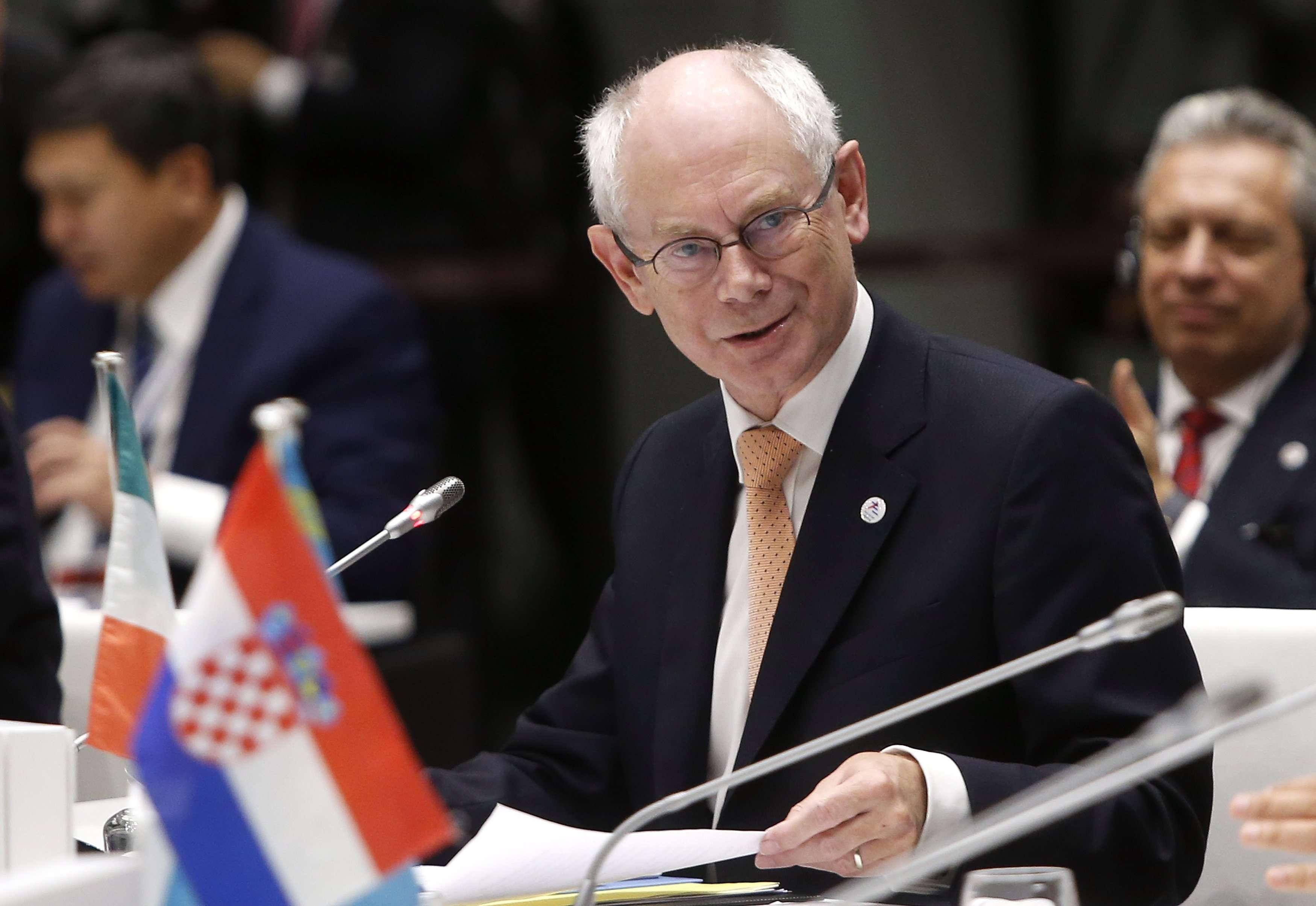 Herman Van Rompuy anunciou, em sua conta do Twitter, a contribuição de R$ 3,2 bi contra ebola Foto: Alessandro Garofalo/Reuters
