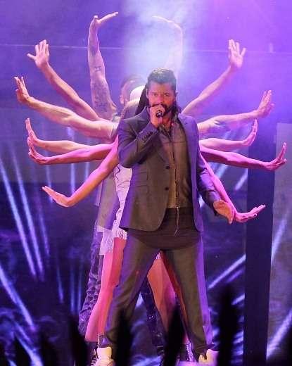 El Cantante Puertorriqueño Ricky Martin se presento anoche en Chile, en el festejo de los 125 años de la tienda Falabella en el Estadio Nacional. Foto: Agencia Uno