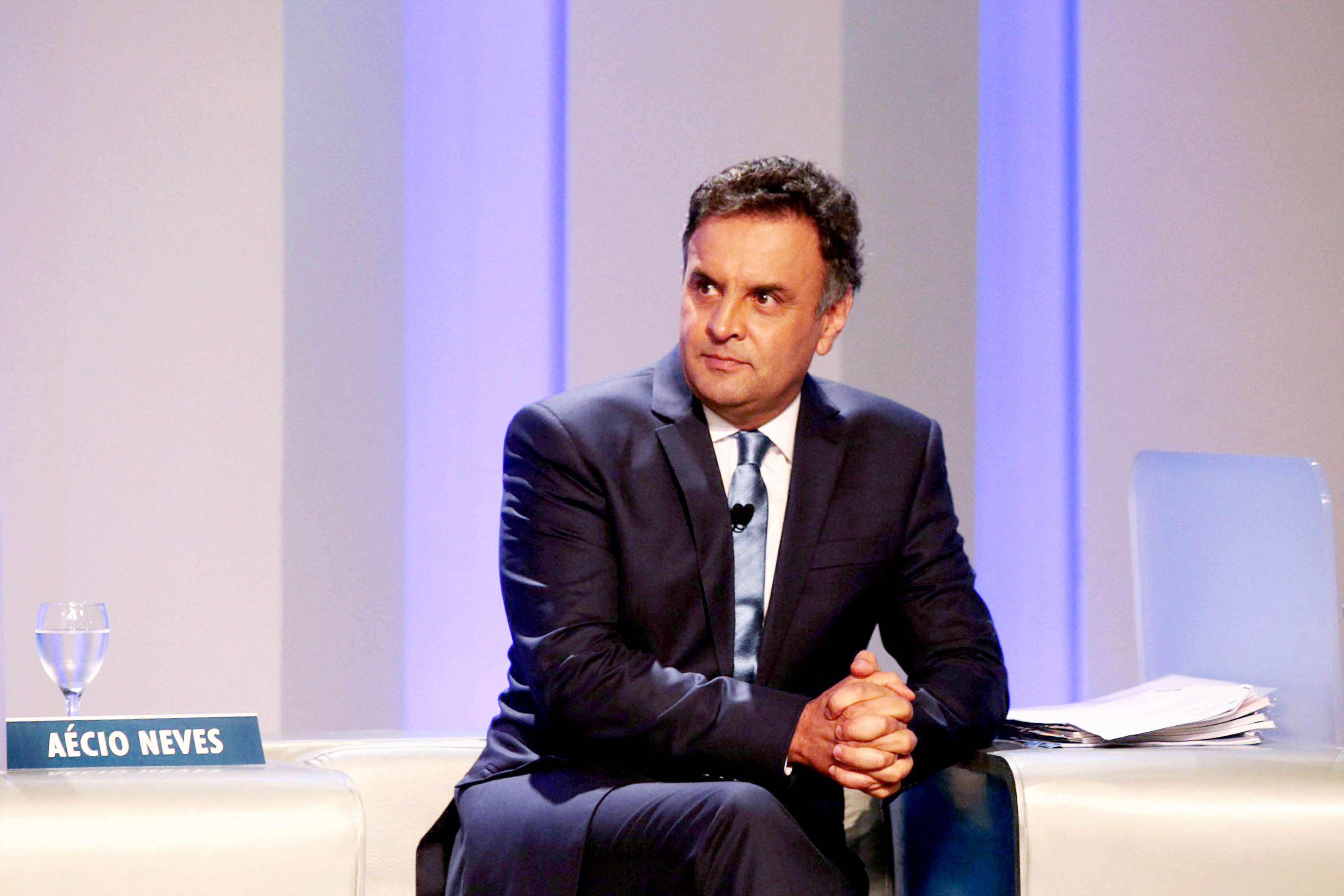 Aécio Neves durante debate no primeiro turno Foto: Orlando Brito/Fotos Públicas/Divulgação