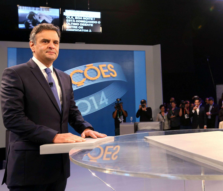 Aécio Neves (PSDB) durante debate na Rede Globo Foto: Marcos Fernandes / Coligação Muda Brasil/Divulgação