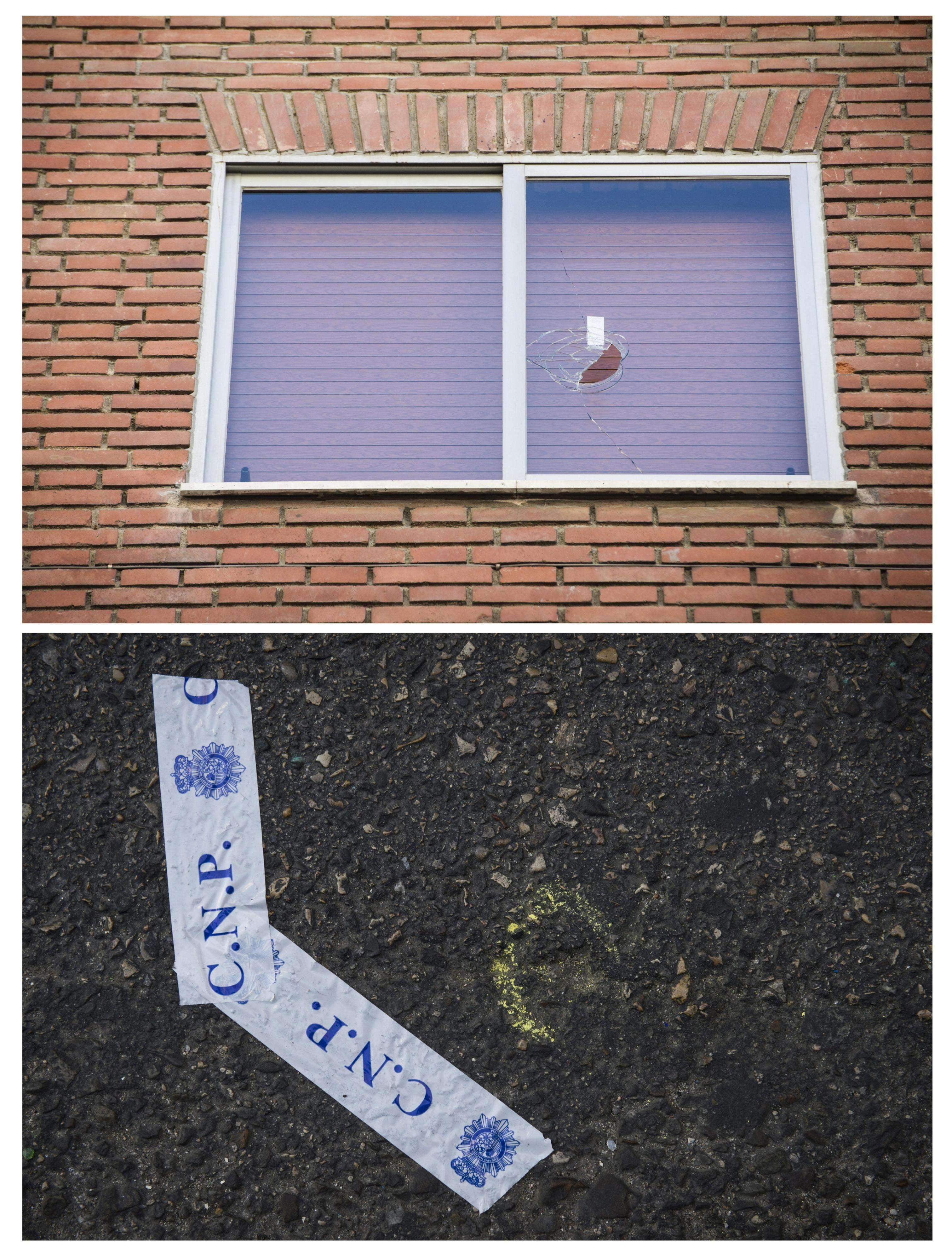 Fotografías en las que se aprecian los impactos de bala, en una ventana y en el asfalto, respectivamente, de los disparos efectuados en la tarde de ayer por un guardia civil con su arma reglamentaria desde la ventana de su casa situada en el número 4 de la calle Mariano Fernández en el barrio madrileño de Tetuán. Foto: EFE en español
