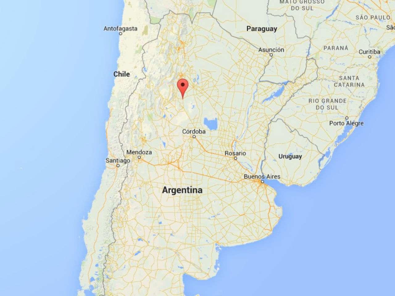 Ariel Fernando Luna fue arrestado el miércoles 22 de octubre de 2014, cuando salía de una casa en la ciudad de Frías, provincia de Santiago del Estero, donde vivía con su familia. Foto: Google Maps
