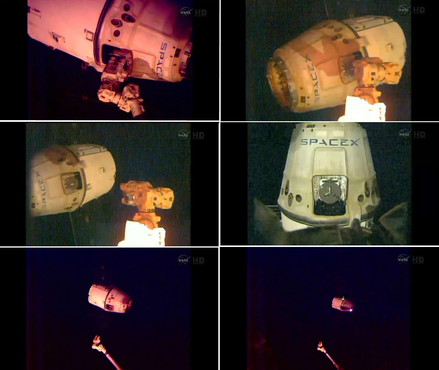 Esta serie de imágenes, captadas por las cámaras de la Estación Espacial Internacional, muestran la salida de la cápsula Dragon de SpaceX. Foto: NASA
