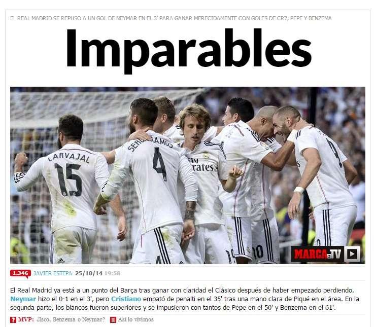 """Site madrileno disse que houve uma """"avalanche branca"""" no clássico Foto: Marca/Reprodução"""