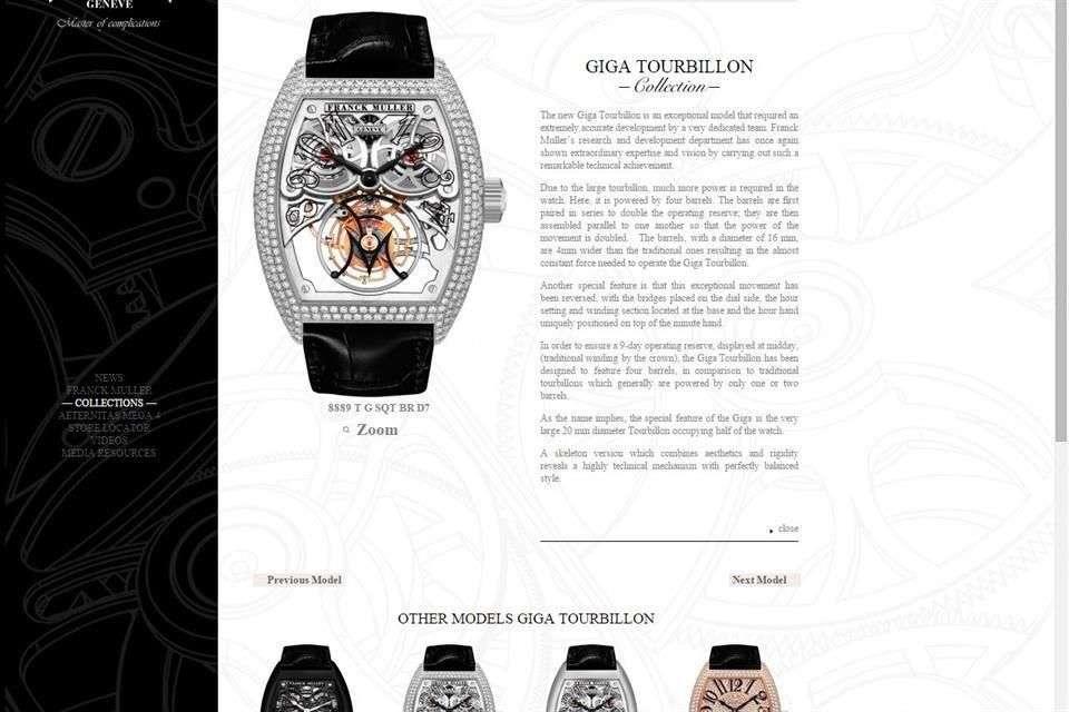 En la página oficial de la marca estos son los relojes que pertenecen a la colección Giga Tourbillon Foto: Franck Muller