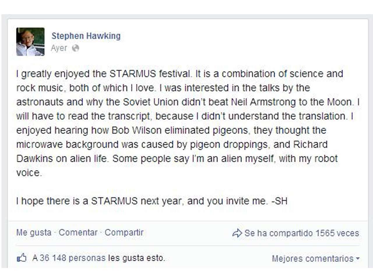 Hawking ya cuenta con más de un millón de amigos. Foto: Facebook/Stephen Hawking