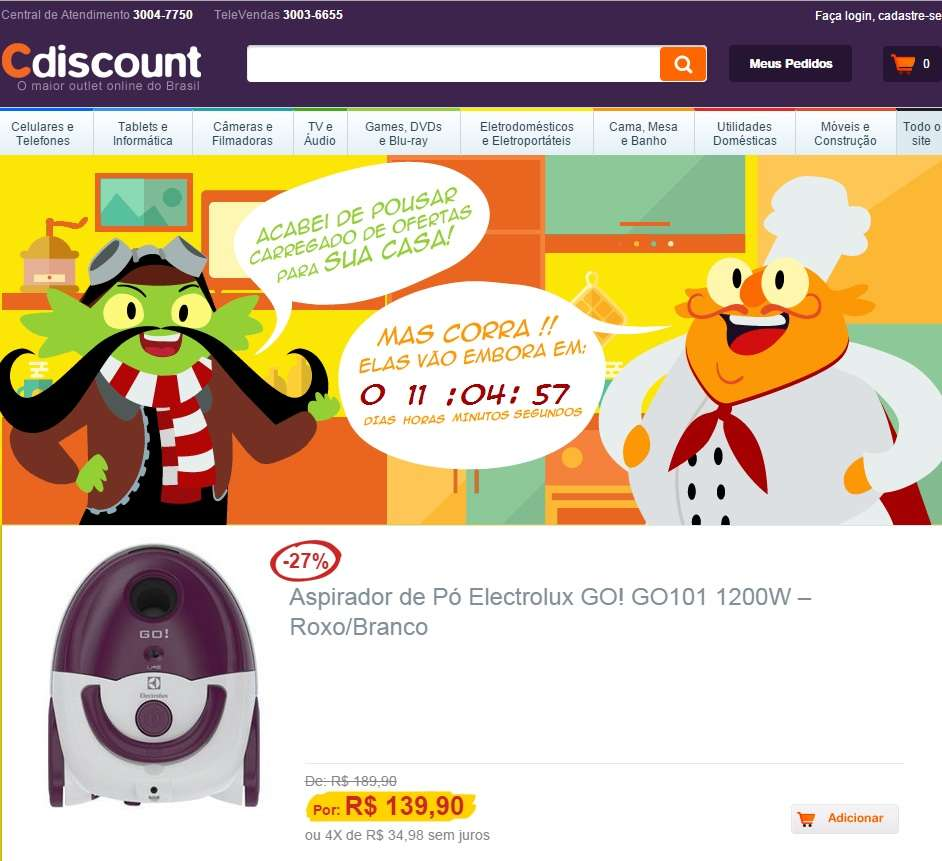 Sob o nome de Cdiscount, a empresa de comércio eletrônico Cnova inaugurou e-commerce no Brasil com a proposta de ser o maior outlet online no País. O site reúne mais de 50 mil itens, além de funcionar como marketplace Foto: Cdiscount/Divulgação