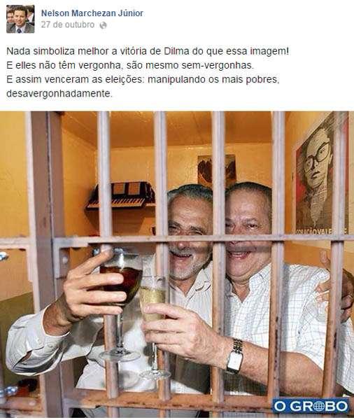 Deputado posta montagem de petistas 'comemorando' na prisão Foto: Facebook / Nelson Marchezan Júnior/Reprodução