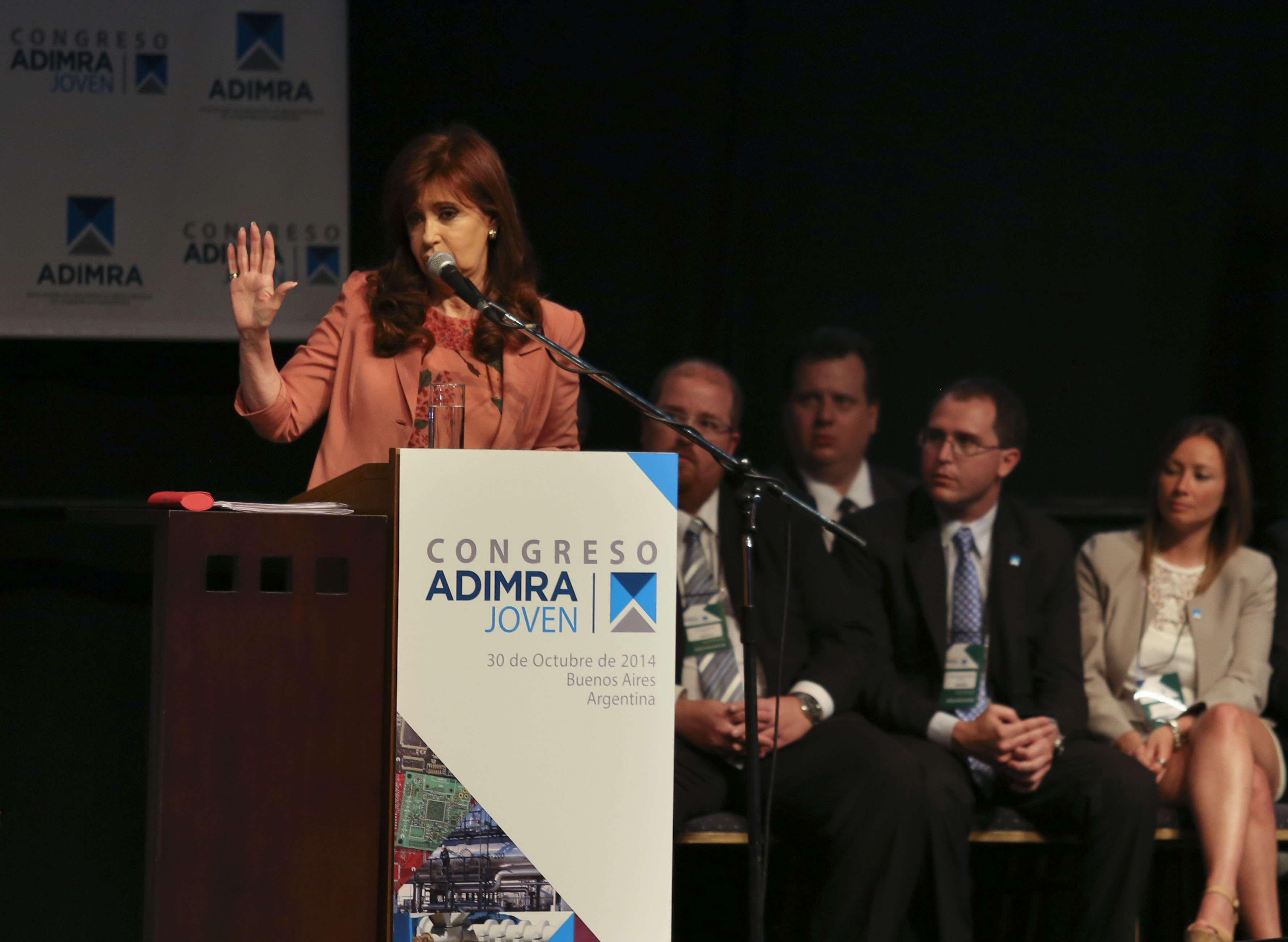 La presidenta Cristina Kirchner durante el congreso de ADIMRA celebrado en Parque Norte. Foto: Noticias Argentinas