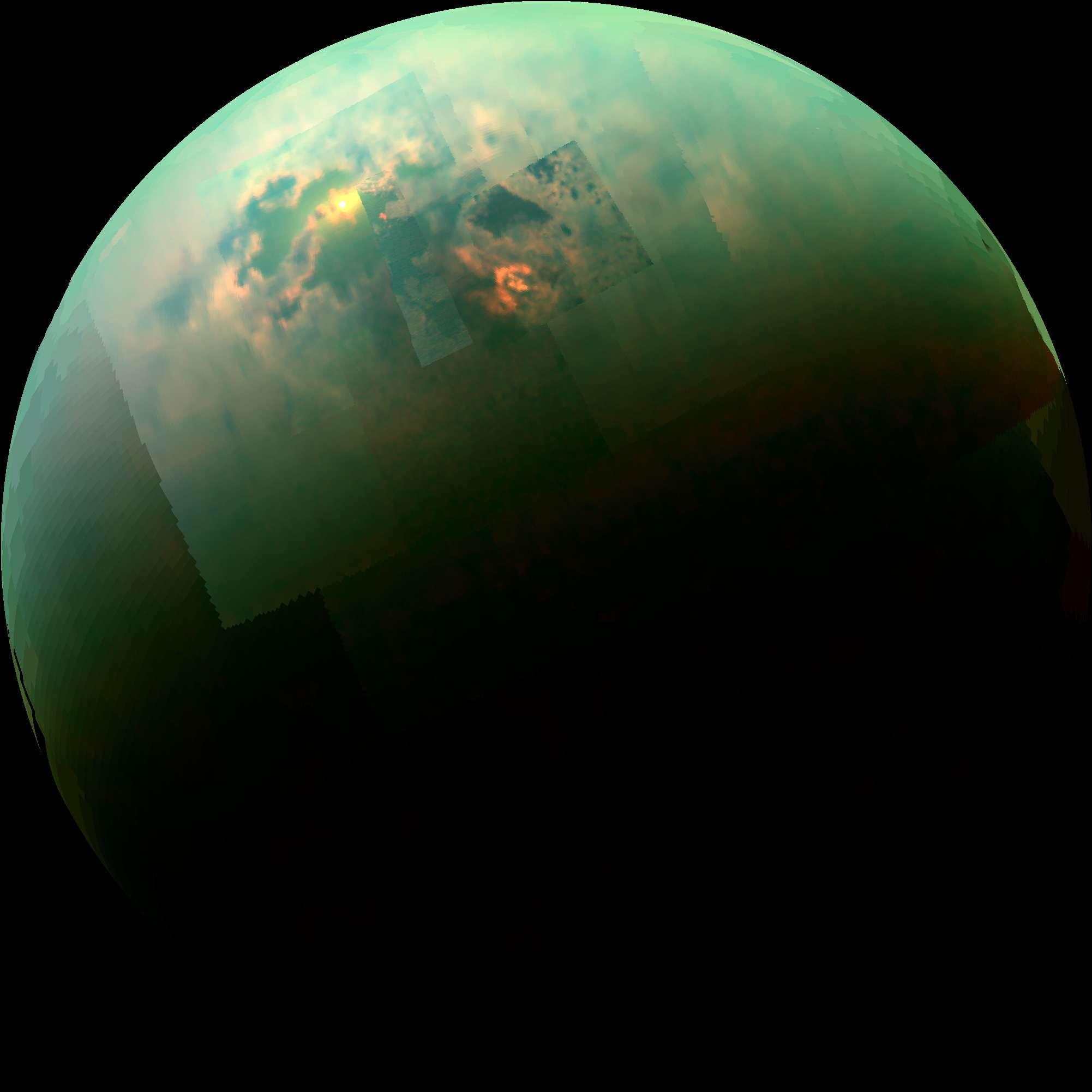 La nave espacial Cassini de la NASA tomó una fotografía de Titán, la luna más grande de Saturno y con una atmósfera rica en metano. En la imagen se puede apreciar el reflejo de la luz del Sol en los mares de hidrocarburos. Foto: NASA/JPL-Caltech/University of Arizona/University of Idaho