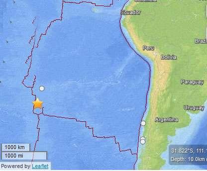 Onemi dijo que no reunía condiciones para tsunami. Foto: Reproducción USGS