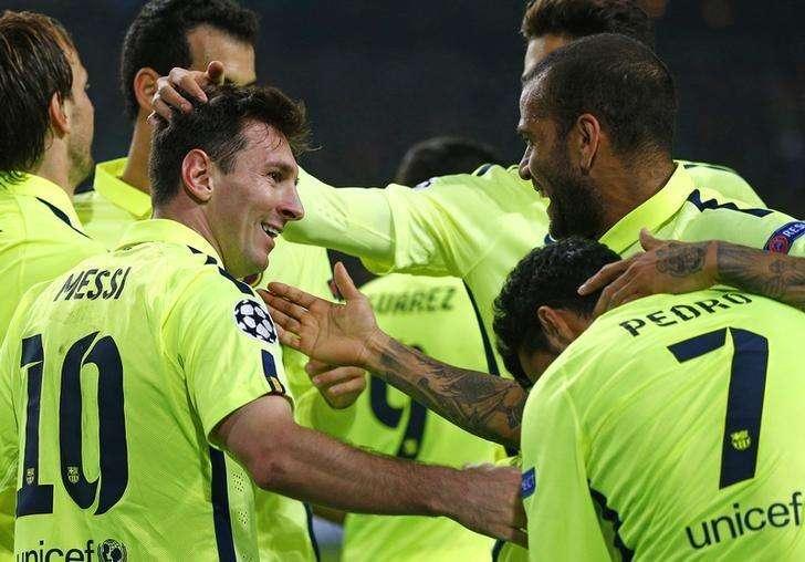 Jogador do Barcelona Lionel Messi comemora gol marcado em partida contra o Ajax em Amsterdã. 5/11/ 2014 Foto: Michael Kooren/Reuters