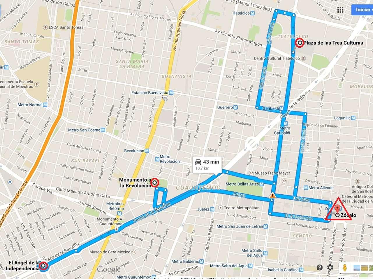 Tres marchas y un posible bloqueo al Aeropuerto Internacional de la Ciudad de México, tendrán lugar este jueves 20 de noviembre de 2014 en el Distrito Federal. Foto: Google Maps