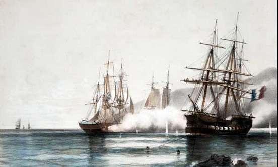 La batalla de Vuelta de Obligado de 1845 Foto: Reproducción
