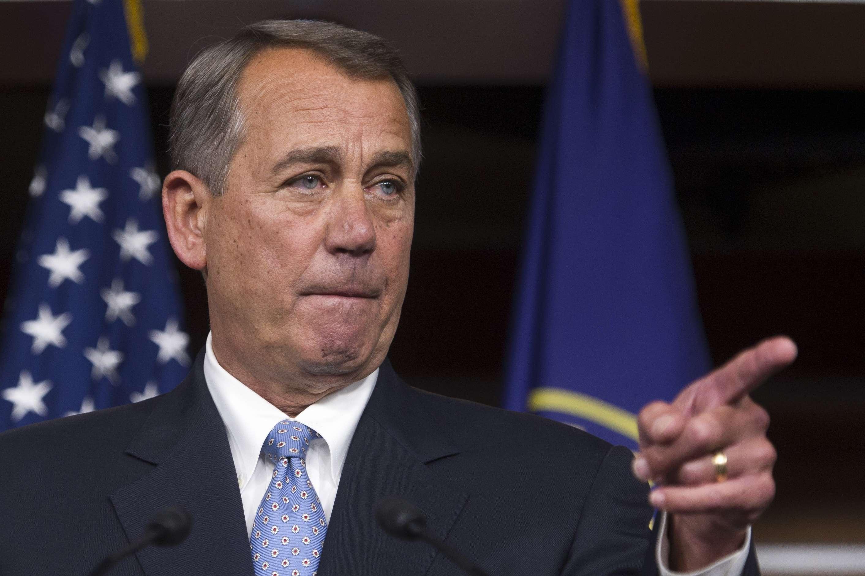 El presidente de la Cámara de Representantes, John Boehner, republicano de Ohio, en una conferencia de prensa en el Capitolio en Washington, el jueves 6 de noviembre de 2014. Foto: AP en español